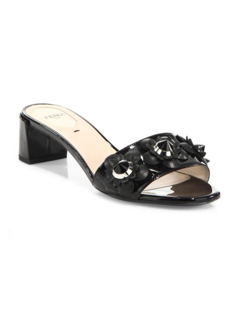 8524203887f2 Fendi Fendi Flowerland Studded Patent Leather Block Heel Slides
