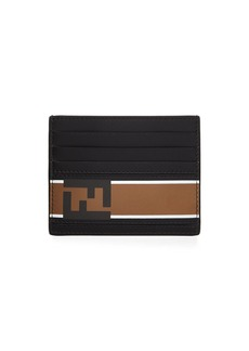 Fendi Forever Logo Striped Leather Card Case