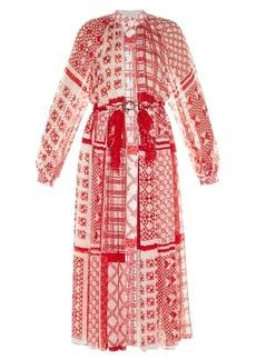 Fendi Foulard-print plumetis-chiffon midi dress