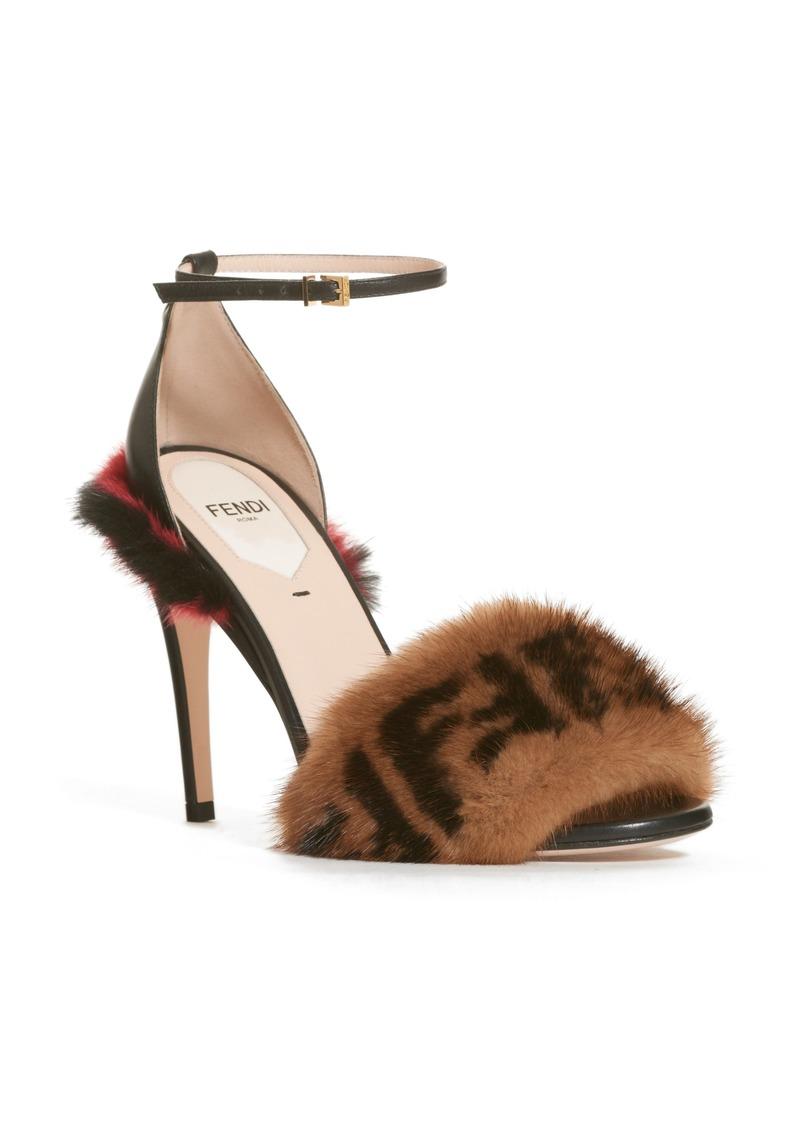 b69d9070baaa54 Fendi Fendi Fun Genuine Mink Fur Logo Sandal (Women)