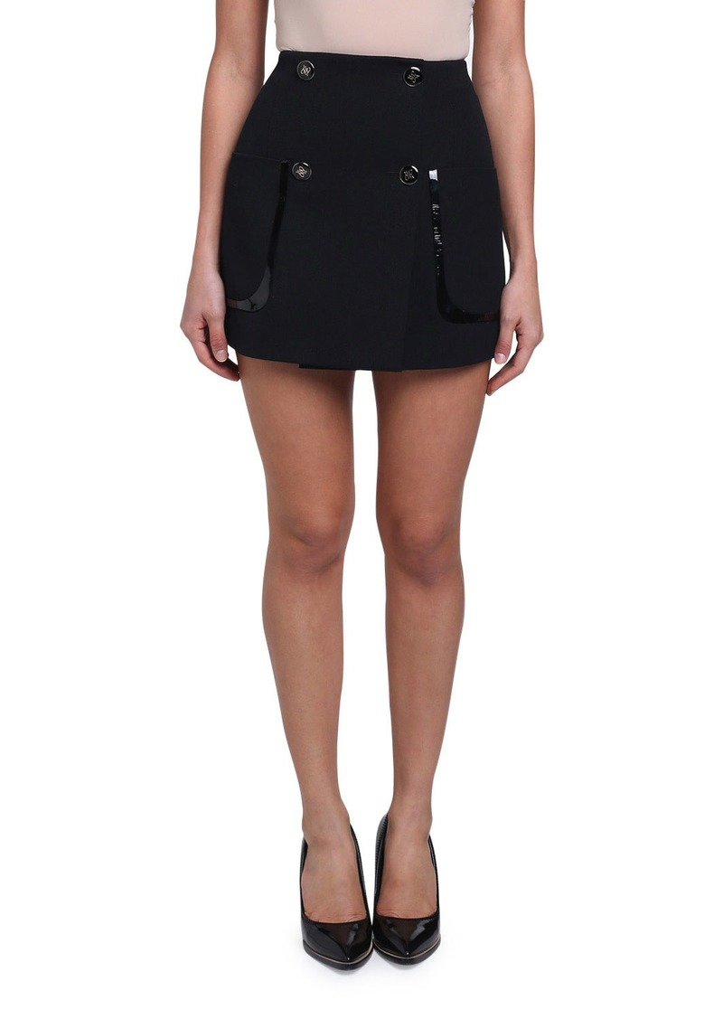 Fendi Gabardine Patent Leather-Trim Mini Skirt