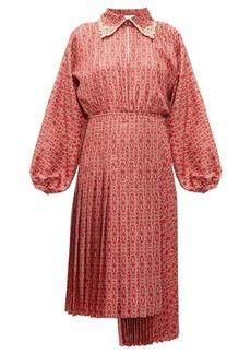 Fendi Gate-print pleated silk midi dress