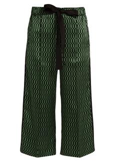 Fendi Geometric-print silk-satin cropped trousers