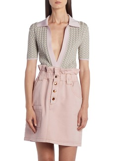 Fendi Gingham Jacquard Polo Sweater