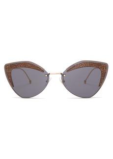 Fendi Glitter cat-eye metal sunglasses