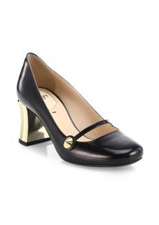 Fendi Golden Block Heel Leather Mary Jane Pumps