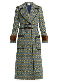Fendi Heart -print fur-trimmed cotton-blend coat