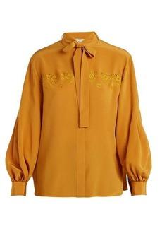 Fendi Heart-embroidered tie-neck silk shirt