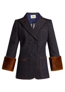 Fendi Heart shearling-trimmed denim jacket