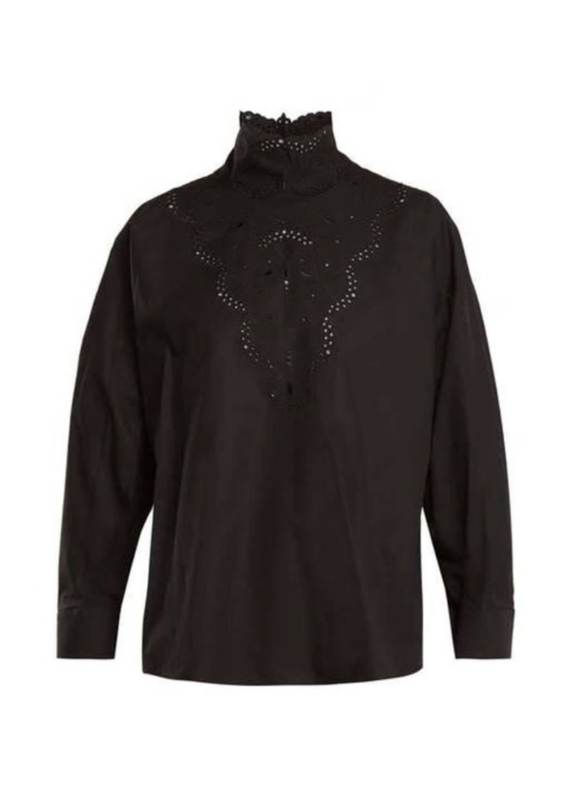 Fendi High-neck broderie-anglaise cotton blouse