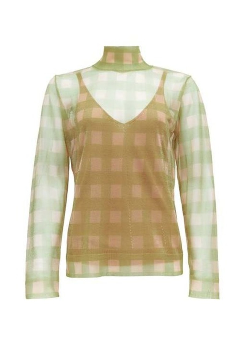 Fendi High-neck check knitted top