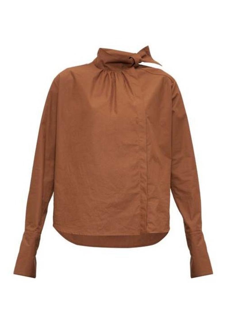 Fendi High-neck cotton-poplin blouse