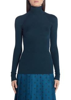 Fendi High Neck Rib Wool Blend Sweater