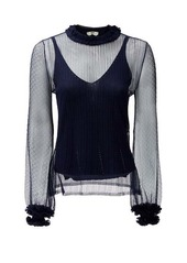 Fendi High-neck ruffle-trim lace top