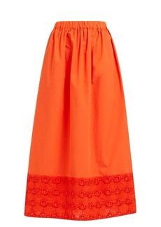 Fendi High-rise broderie anglaise cotton midi skirt