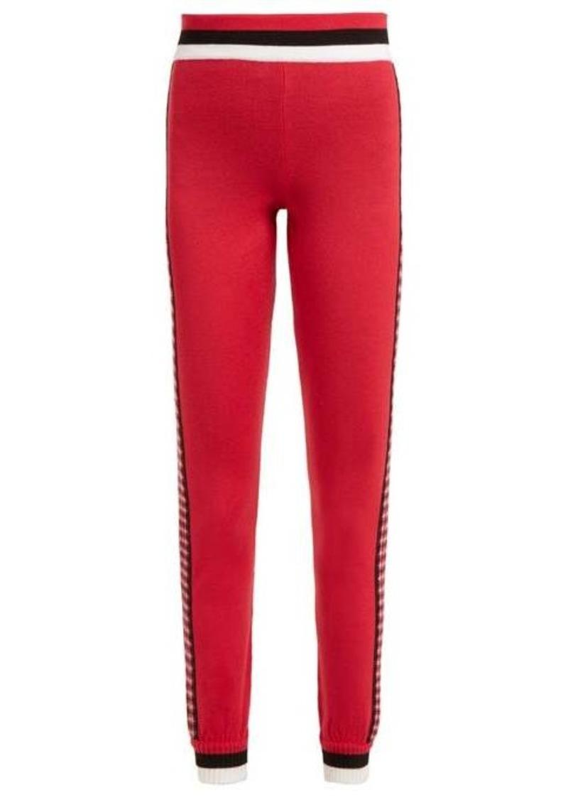 Fendi High-rise checked wool leggings