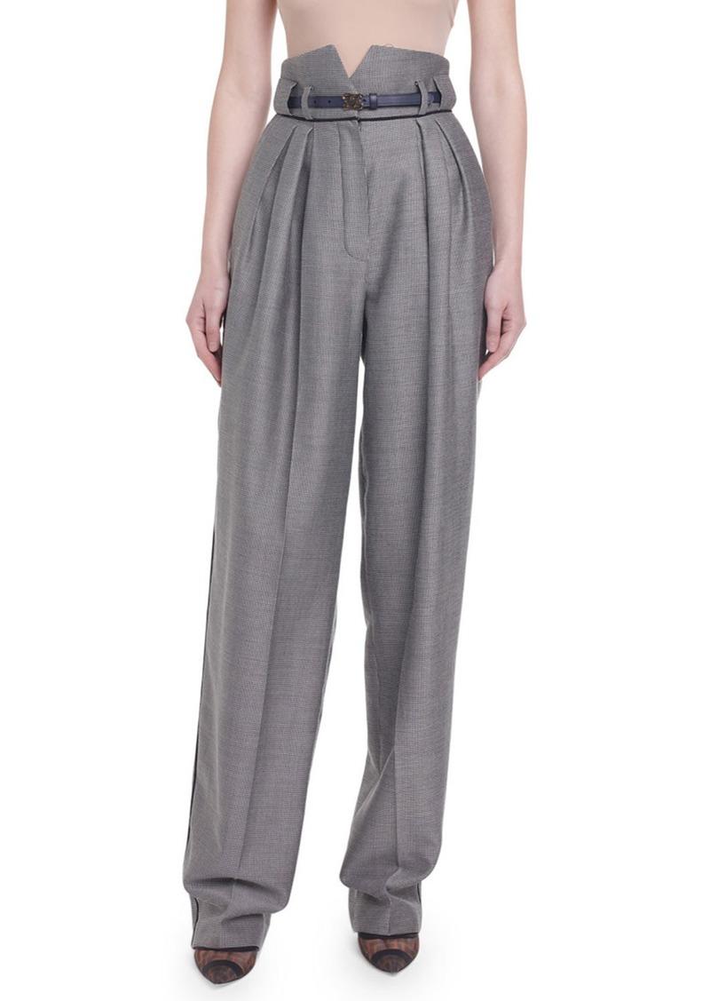 Fendi High-Rise Menswear Wide-Leg Pants