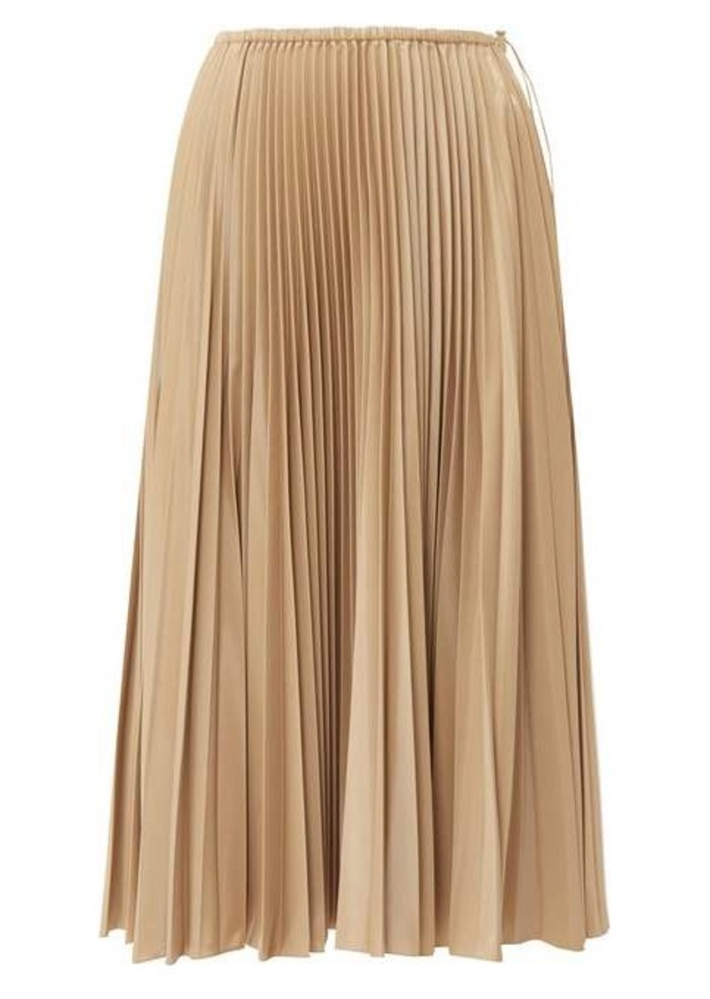 Fendi High-rise pleated satin midi skirt