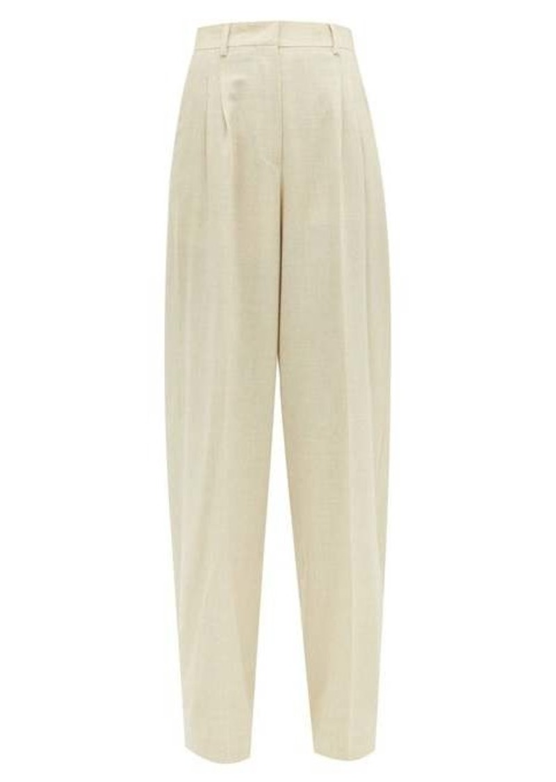 Fendi High-rise wool-blend wide-leg trousers