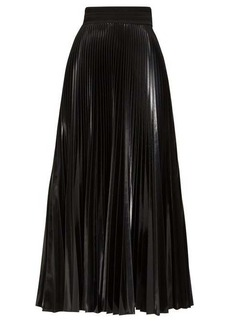 Fendi High-shine pleated midi skirt