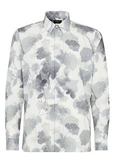 Fendi Hortensia Floral Print Long Sleeve Button-Up Cotton Shirt