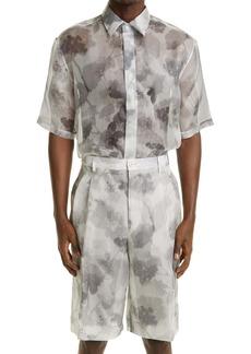 Fendi Hortensia Floral Print Short Sleeve Silk Button-Up Shirt