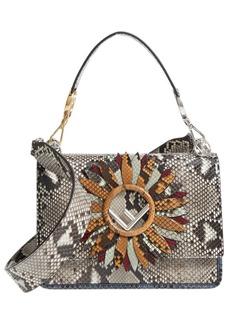 Fendi Kan I Daisy Logo Genuine Python Shoulder Bag