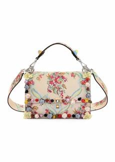 Fendi Kan I Floral Leather Shoulder Bag  Cream