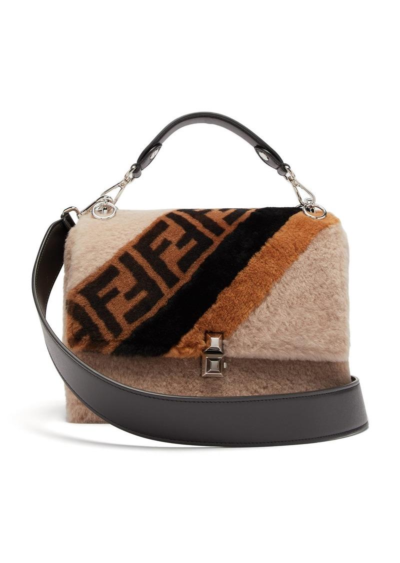 c8cdea10d080 Fendi Fendi Kan I logo-print shearling shoulder bag