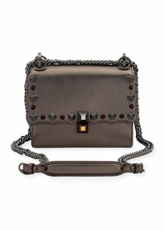 Fendi Kan I Mini Scalloped Studded Chain Shoulder Bag  Gray