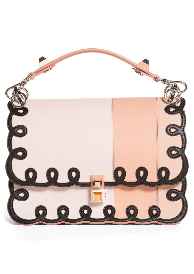 e08752321b63 Fendi Fendi Kan I Scalloped Stripe Leather Shoulder Bag
