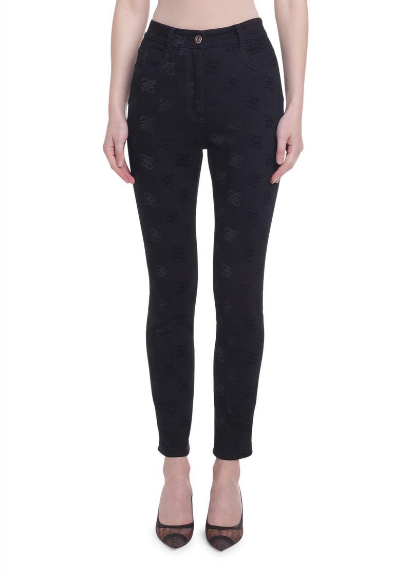 Fendi Karligraphy Jacquard Skinny Jeans