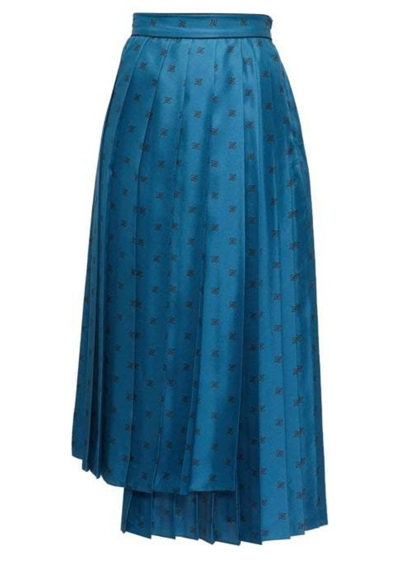 Fendi Karligraphy pleated logo-print silk midi skirt