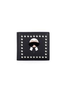 Fendi Karlito Bi-Fold Leather Wallet w/Mink Fur Details