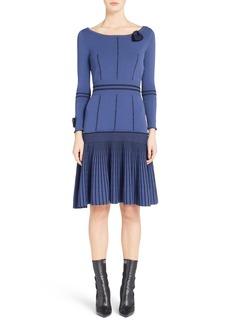 Fendi Knit Drop Waist Dress with Genuine Mink Fur Trim