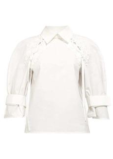 Fendi Lace belted-sleeve cotton-poplin shirt