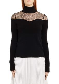 Fendi Lace Inset Wool & Cashmere Sweater