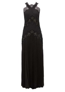 Fendi Lace-panelled silk-jacquard dress