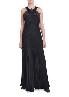 Fendi Lace Pleated Halter-Neck Gown