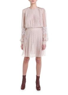Fendi Lace Sleeve Pleated Chiffon Dress