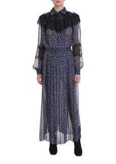Fendi Lace-Trim Floral Print Chiffon Dress
