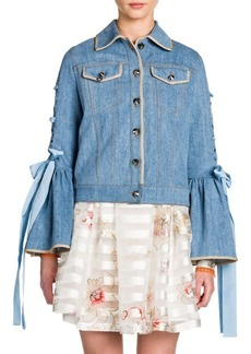 Fendi Lace-Up Bell Sleeve Denim Jacket