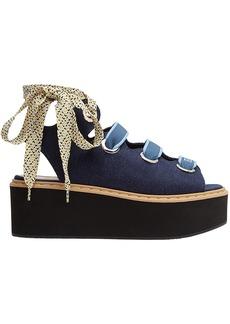 Fendi lace-up platform sandals - Blue