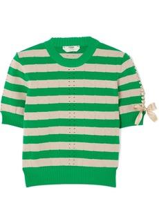 Fendi Lace-up Striped Pointelle-knit Top