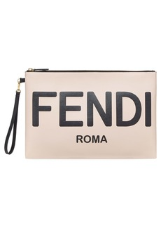 Fendi Large Logo Leather Flat Pouch