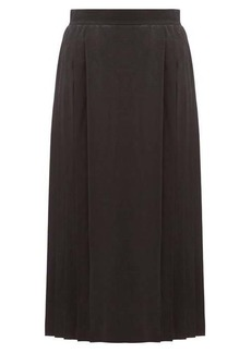 Fendi Leaf-jacquard pleated silk skirt