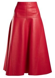 Fendi Leather A-line midi skirt