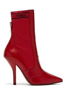Fendi Leather and ribbed-knit ankle boots