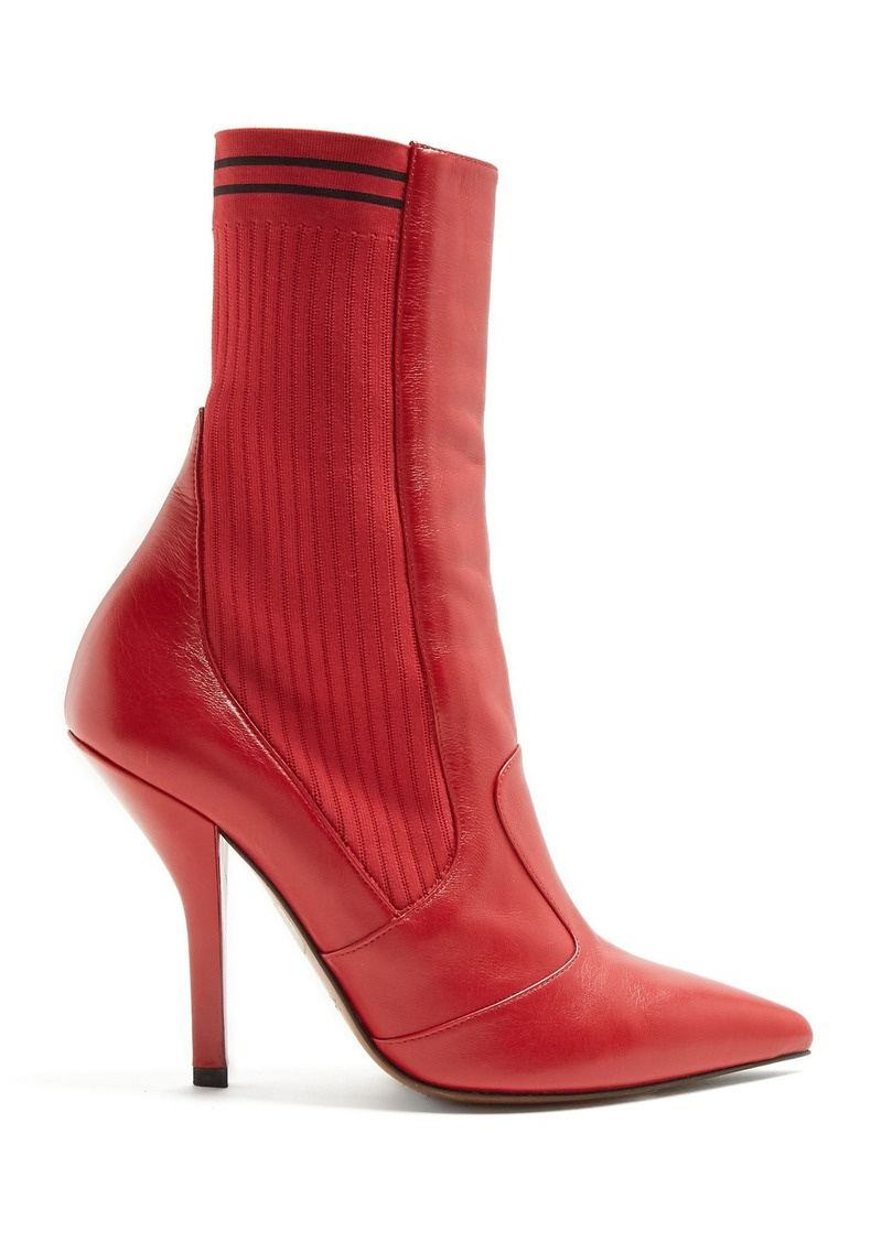 194555ec Leather and ribbed-knit ankle boots