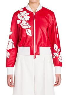 Fendi Leather Appliqué Bomber Jacket